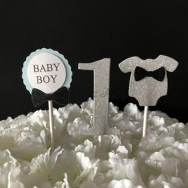 """Taart Toppers Carton """"1 Baby Boy"""" (3 stuks)"""