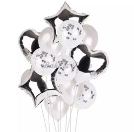 Folie & Latex Ballonnen Party Set Zilver/Wit Confetti (14 stuks)