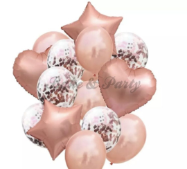 Folie & Latex Ballonnen Party Set Rosé Goud Confetti (2) (14 stuks)