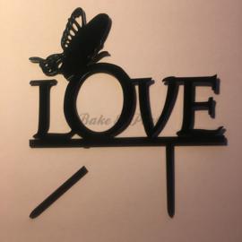 """Taart Topper """"Love"""" (2) Zwart"""