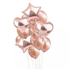 Folie & Latex Ballonnen Party Set Rosé Goud (1) (14 stuks)