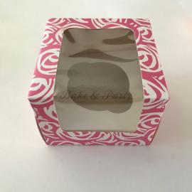 Culpitt Cupcake Box Pink Rose (3 stuks) - 10 x 7,5 x 10 cm