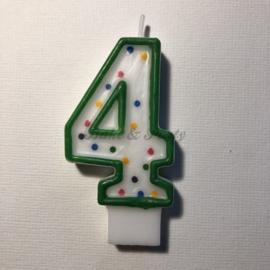 "Kaarsje Wilton - Numeral Candle - ""4"" Green"