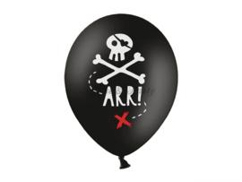 """Latex Ballonnen """"Pirates"""" Zwart/Wit/Rood (10 stuks)"""