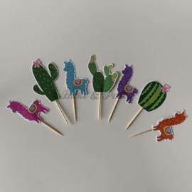 """Cupcake Toppers """"Alpaca & Cactus"""" (7 stuks)"""