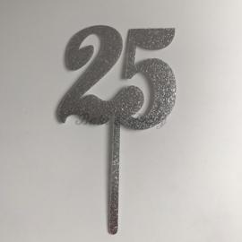 "Taart Topper ""25"" Zilver Acryl"