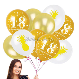 "Latex Ballonnen ""18 Happy Birthday"" + Ananas"
