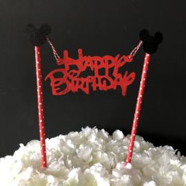 "Taart Topper Vilt ""Happy Birthday"" (4)"
