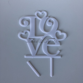 "Taart Topper ""Love"" (7) Wit Acryl"