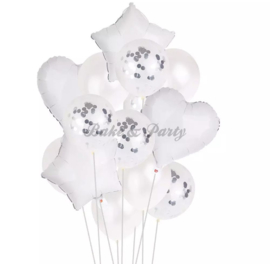 Folie & Latex Ballonnen Party Set Wit Confetti (14 stuks)