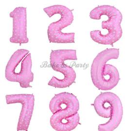 """Folie Ballonnen """"Cijfers"""" Roze"""