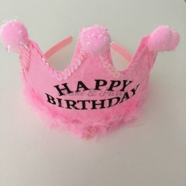"Verjaardagskroon ""Happy Birthday"" Roze"