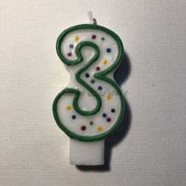 "Kaarsje Wilton - Numeral Candle - ""3"" Green"