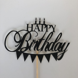 """Taart Topper """"Happy Birthday"""" (1) Zwart Carton (klein)"""
