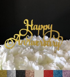 "Taart Topper Carton ""Happy Anniversary"" (1)"
