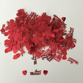"Decoratie Confetti ""Just Married"" Rood"