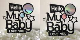 "Taart Topper Carton ""Hello My Baby"""