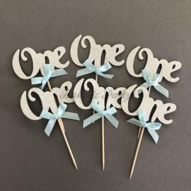 """Cupcake Toppers """"One"""" Zilver/Blauw (6 stuks)"""