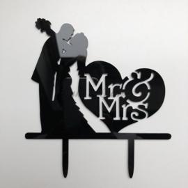 "Taart Topper Acryl ""Mr & Mrs"" (12)"