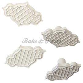 Plunger - PME  Creative Plaque Inserts - Trellis Quilted (4 stuks)