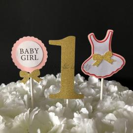 "Taart Toppers Carton ""1 Baby Girl"""