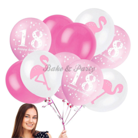 "Latex Ballonnen ""18 Happy Birthday"" + Flamingo"