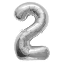 "Jumbo Folie Ballon ""2"" Zilver"