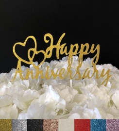 "Taart Topper Carton ""Happy Anniversary"" (2)"