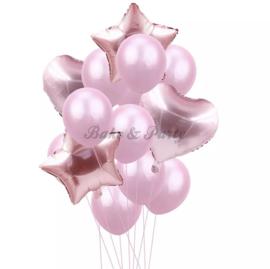 Folie & Latex Ballonnen Party Set Roze (14 stuks)