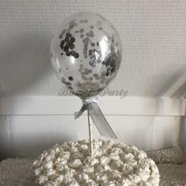 """Taart Topper """"Ballon"""" (1) Zilver"""