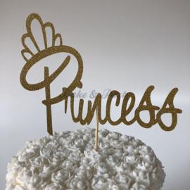 "Taart Topper ""Princess"" Goud Carton (klein)"