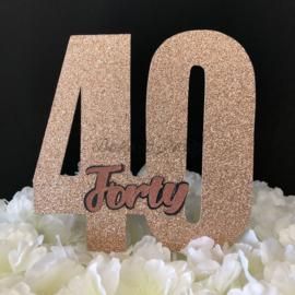 "Taart Topper Carton ""40"""
