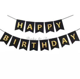 "Slinger ""Happy Birthday"" Zwart/Goud"