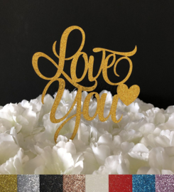 "Taart Topper Carton ""Love You"""