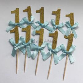 "Cupcake Toppers ""1"" Goud/Blauw (10 stuks)"