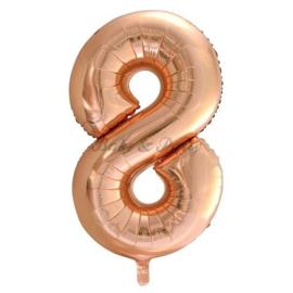"""Jumbo Folie Ballon """"8"""" Rose Goud"""