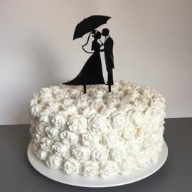 """Taart Topper """"Bruidspaar onder Paraplu"""" Zwart Acryl"""