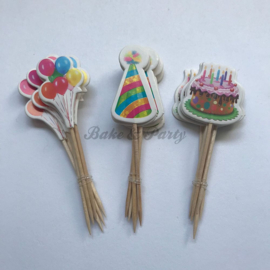 "Cupcake Toppers ""Party"" (18 stuks)"
