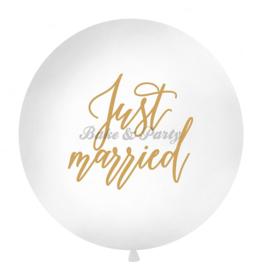 "Reuzen Ballon ""Just Married"" Wit/Goud"