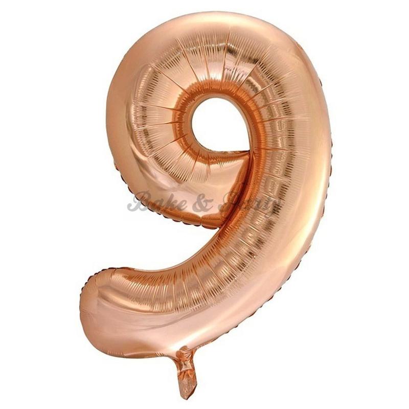 """Jumbo Folie Ballon """"9"""" Rose Goud"""
