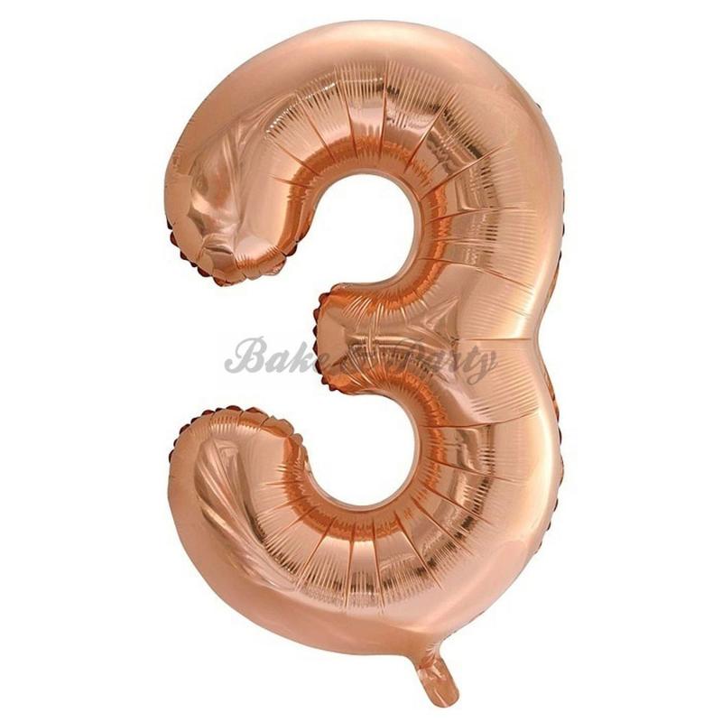 """Jumbo Folie Ballon """"3"""" Rose Goud"""