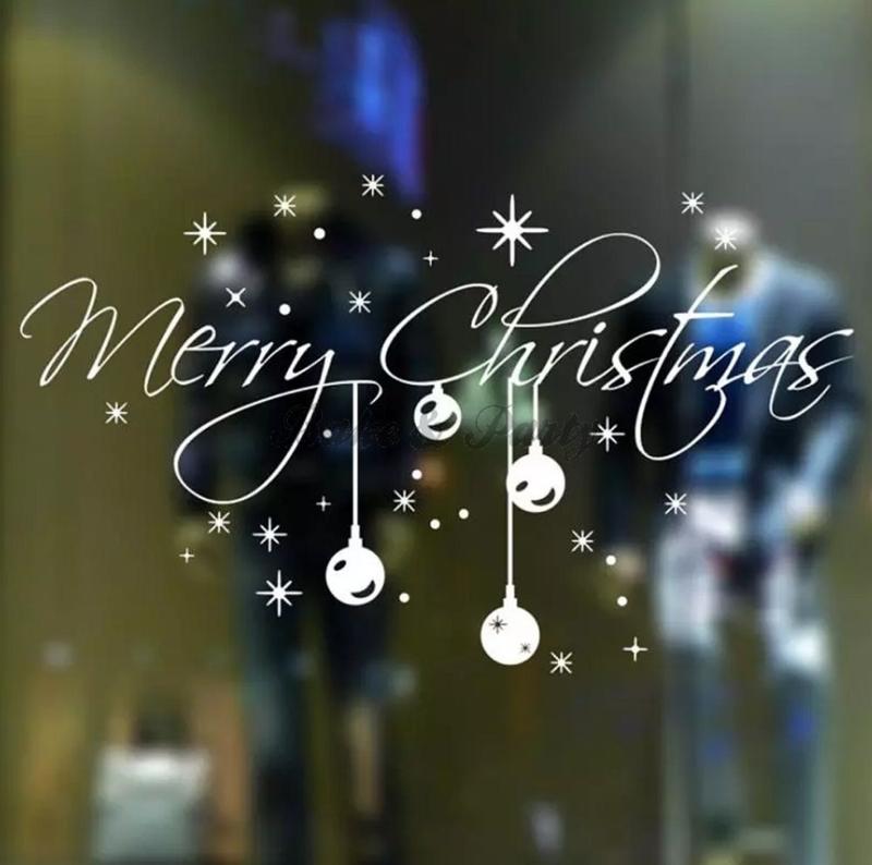 "Raam- / Muursticker ""Merry Christmas"" (3) Wit"