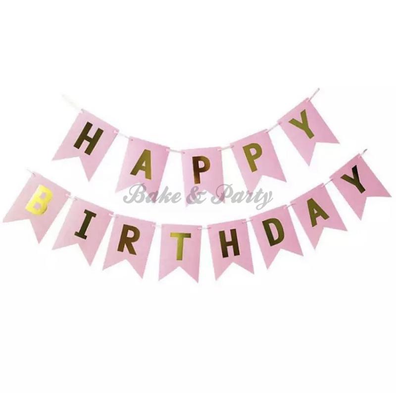 "Slinger ""Happy Birthday"" Roze/Goud"