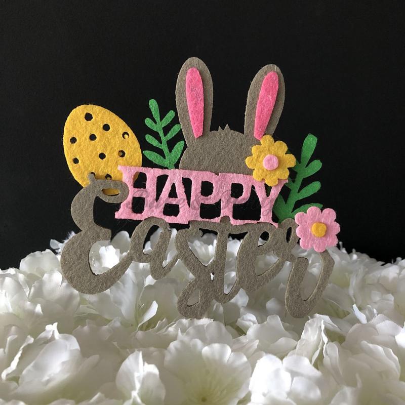 """Taart Topper Vilt """"Happy Easter"""""""