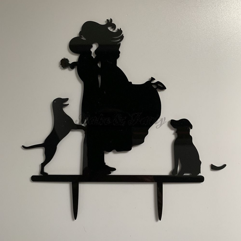 "Taart Topper ""Bruid/Bruidegom/Hond"" (4) Zwart Acryl"