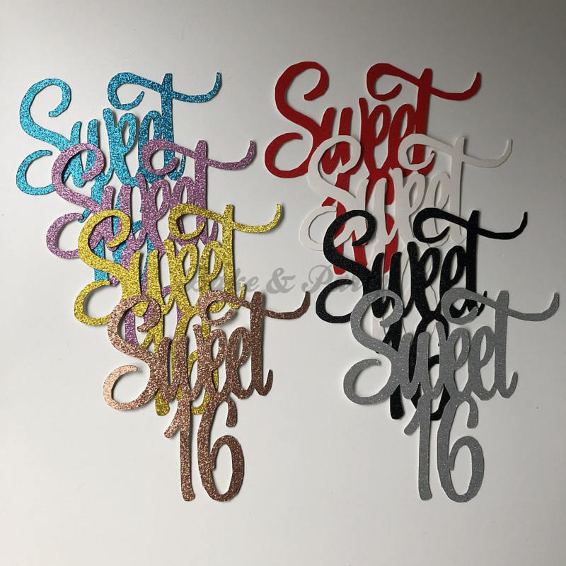 "Taart Topper Carton ""Sweet 16"" (2)"