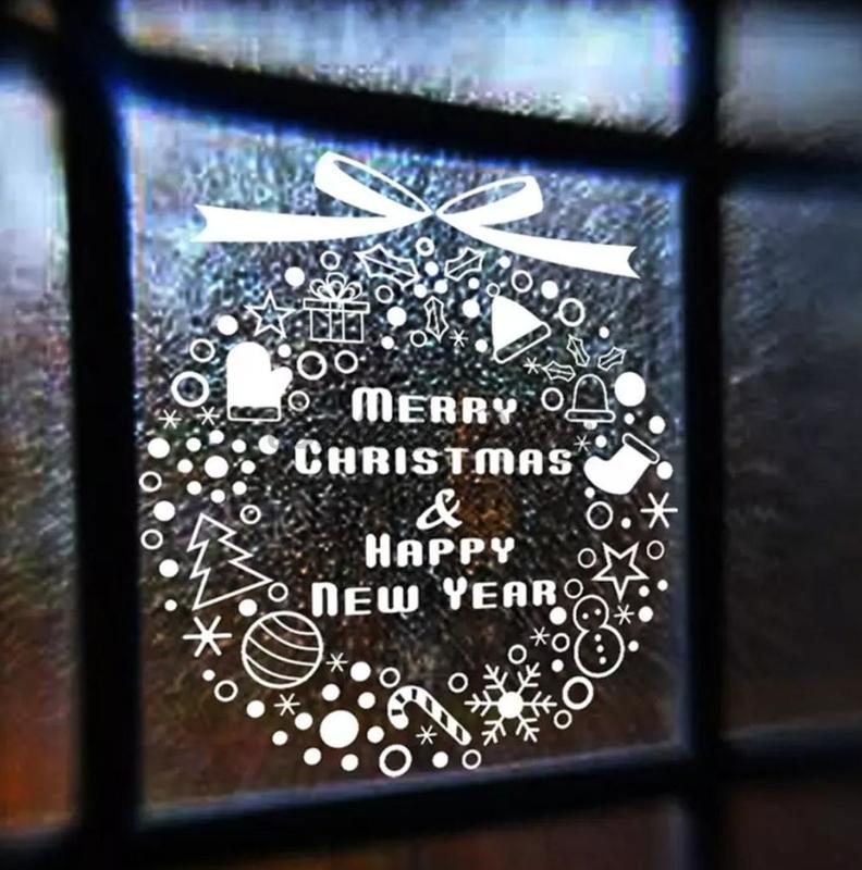 "Raam- / Muursticker ""Merry Christmas"" (2) Wit"