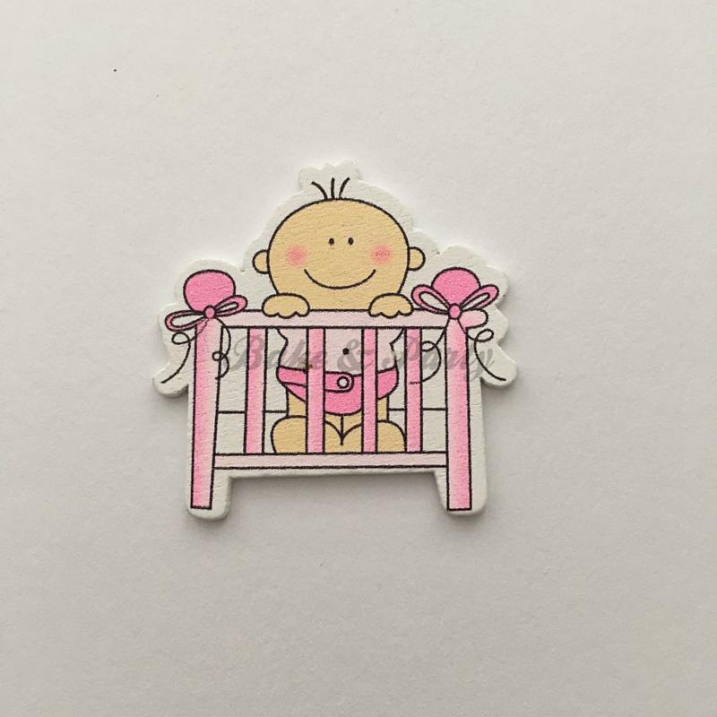 "Houten Decoratie Buttons ""Baby Girl in Wieg"""
