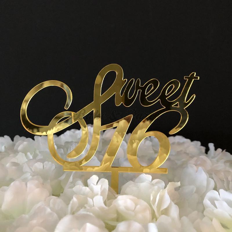 """Taart Topper Acryl """"Sweet 16"""" (1)"""