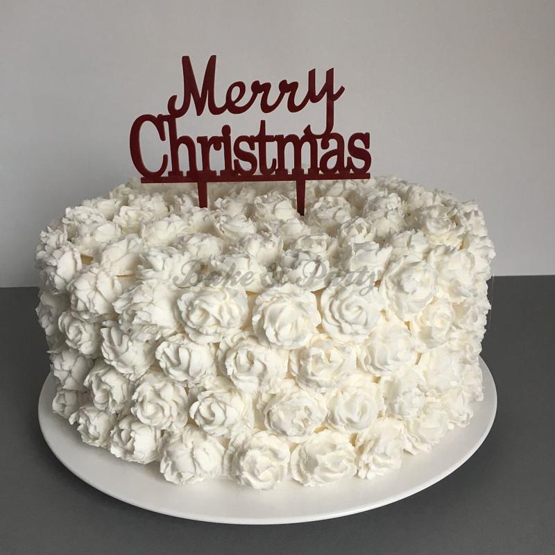 "Taart Topper ""Merry Christmas"" Rood Acryl"
